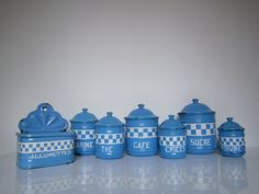 Series old pots kitcken blue enamelled with Matchbox /checkerboard pattern embossed/ kitchenware / rustic /french country home decor/cottage