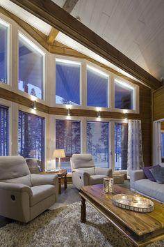 Huvila Nuuna Livo - Kuusamo Hirsitalot Wooden Architecture, Cottage Design, Rustic Elegance, Cottage Homes, Log Homes, My Dream Home, My House, Sweet Home, Home And Garden
