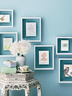 Gather a handful of floating frames to hang on a wall in an abstract arrangement. Fill the frames with beautiful letterpress cards, your grandmother's handkerchiefs, or anything that strikes your fancy and complements your decor.