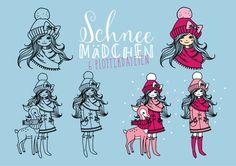 """Adventskalender – Türchen Nr° 1 Plotterdatei """"Schneemädchen"""""""
