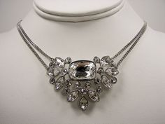 Givenchy TREV Silver Tone Double Chain Crystal Cluster  Necklace NWT MSRP $78 #Givenchy #Chain Only $54.99 with free shipping!!