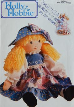 Holly Hobbie Doll Pattern for 16 Inch Stuffed Doll Her Dress and Hat / Butterick 146 /yarn hair, painted face Uncut by RedWickerBasket on Etsy