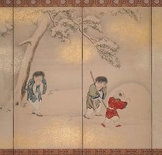 Children Playing in Summer and Winter  Maruyama Ôshin  (Japanese, 1790–1838)  Period: Edo period (1615–1868) Culture: Japan Medium: Pair of six-panel folding screens; ink, color, and gold on paper