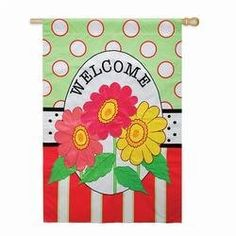 """Daisy Welcome Flag (Regular Size) by House-Impressions. $24.95. Great for yourself or as a gift. Artistic Blends Flag. 29"""" x 43"""". Words can be read on both sides. Applique hybrid design. Three colorful daisies are striking on their own, but on this flag, they are surrounded by strong stripes and perky polka dots. Friends and neighbors are greeted by a warm """"Welcome"""" from this flag blowing gently in the breeze. The Daisy Welcome Flag is an eye-catching addition ..."""