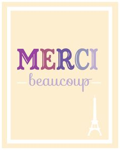#Typographic #poster: Merci Beaucoup illustration Poster Quote di TheBellaPrintShop