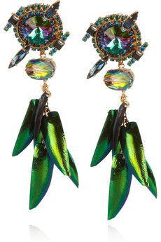 ERICKSON BEAMON  Aquarela Do Brasil gold-plated Swarovski crystal earrings  $380