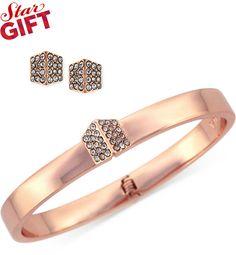 Vince Camuto Rose Gold-Tone Crystal Pavé Bangle Bracelet and Stud Earring Set