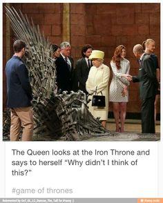 Game of thrones funny humour meme, the Queen, Queen Elizabeth II, Jon Snow, Kit Harington, Ygritte, Rose Leslie