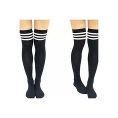 Thigh High Knee High Socks Sandysshop ($8) ❤ liked on Polyvore featuring intimates, hosiery, socks, knee high socks, knee socks, knee hi socks, pink knee high socks and pink knee socks
