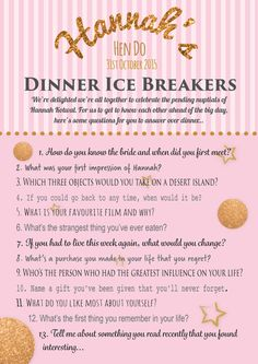 Personalised hen party game Ice breaker game by PrintedPersonally
