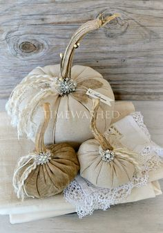 ~this is a lovely set of rustic fabric pumpkins that are so elegant and yummy! A Timewashed original design!    ~the two lighter pumpkins are created