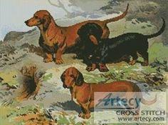 Dachshunds Cross Stitch Pattern http://www.artecyshop.com/index.php?main_page=product_info&cPath=1_7&products_id=827