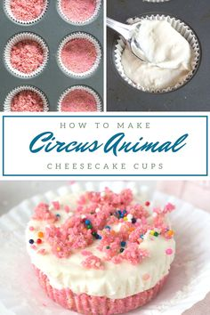 This yummy Frosted Circus Animal Cheesecake is a perfect homemade dessert for a birthday party, baby Cheesecake Cookies, Cheesecake Recipes, Cookie Recipes, Dessert Recipes, Brownie Recipes, Just Desserts, Delicious Desserts, Yummy Food, Yummy Treats
