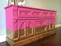 Schäbig schicke Pink & Gold Leaf 8 Schublade von UproarDecor