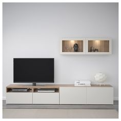 IKEA - BESTÅ TV storage combination/glass doors walnut effect light - Interior Ideas - Ikea Living Room, Living Room Cabinets, Living Room Storage, Ikea Tv Stand, Muebles Living, Tv Storage, Record Storage, Storage Ideas, Towel Storage