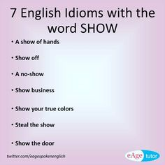 Idioms And Phrases, Show Of Hands, English Idioms, True Colors, Education, Learning, Words, Instagram Posts, Studying