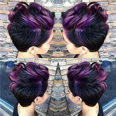 Purple, Black - Short Haircut