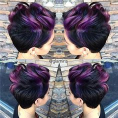 Purple Curly Pixie Hairstyle
