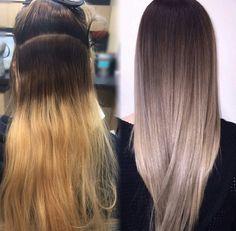 Brunette balayage & hair highlights : fiidnt pixiecut on i… Ombré Hair, Hair Dos, Grey Hombre Hair, Ash Ombre Hair, Grey Ombre, Cold Blonde, Grey Blonde, Ash Blonde Balayage, Bayalage