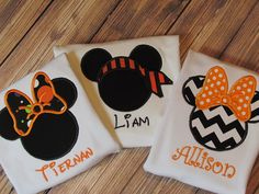 Girls or Boys Personalized Halloween Chevron Minnie or Mickey Mouse Disney Vacation Applique Shirt  FREE MONOGRAM on Etsy, $22.00