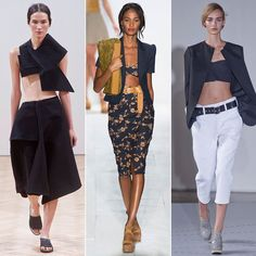 Keep On Cropping: Turns out crop tops aren't going anywhere. Midsections were out on display this Fashion Week, exposing the entire stomach or a simple sliver. Plan on renewing your gym membership; trust us.
