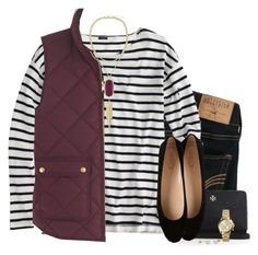 """""""Maroon & stripes"""" by steffiestaffie ❤ liked on Polyvore featuring Hollister Co., J.Crew, Tory Burch, Tod's, Kendra Scott and Michael Kors"""
