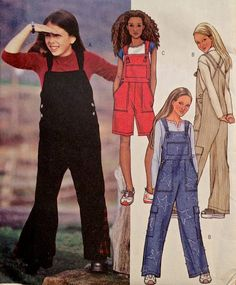 GIRLS OVERALLS Sewing Pattern - Teens Overall Painter's Pants - OOP 3 Sizes