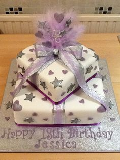 Lilac and silver 18th birthday cake