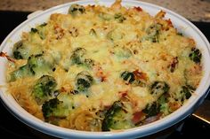 Pasta casserole with broccoli and ham, a very nice recipe from the category casserole. Broccoli Cheese Casserole, Pasta Casserole, Broccoli Rice, Pasta Bake, Casserole Recipes, A Food, Food And Drink, Rice Recipes For Dinner, Evening Meals