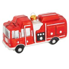 6054.6 Fire Truck Ornament Glass ChicagoFireAndCopShop.com Chicago Fire Department and Chicago Police Department gifts.