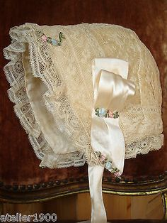 antique victorian silk + lace bonnet rosette ribbon child antique doll size 12 Baptism Dress, Christening Gowns, Antique Lace, Vintage Lace, Angel Gowns, Baby Couture, Baby Bonnets, Period Outfit, Linens And Lace