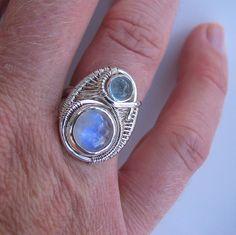 Rainbow Moonstone Ring Aquamarine Ring Wire by PeacebirdStudio