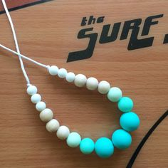 Modern silicone teething necklace/ nursing necklace/ silicone beads/ new mother/ baby shower gift/ chew beads/ turquoise ombre necklace