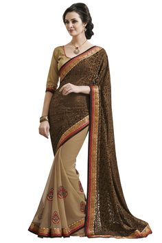 Brown Designer Party Wear Saree Online From Skysarees
