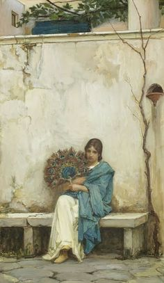 John William Waterhouse Day Dreams - Pre Raphaelite Art the roughness of the wall and the scraggly tree are oddly appealing