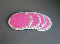 PINK & BLING COASTERS Set of 4 in sparkling by LaurieBCreations, $18.00