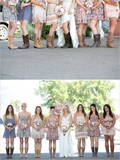 I'm not one for sundresses in a wedding, but I love the feel of these dresses and boots! Country with a quirky vibe.