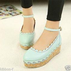 Rose Lace Shoes Cute Lolita Kawaii Harajuku Pastel Fairy Mori Forest Kei Blue | eBay
