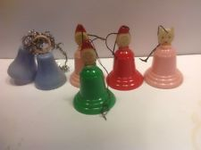 vintage christmas tree decoration santa bells 1950s