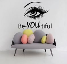 Eye Wall Decals Girl Model Beautiful Words Beauty Salon Vinyl Decal Sticker Home Decor Interior Design Art Mural Make Up Cosmetics Welcome to Our shop! Wall decals are one of the great decorative innovations of recent years. Decals are a an easy and inexp Hair Salon Interior, Salon Interior Design, Home Salon, Studio Interior, Beauty Salon Decor, Beauty Salons, Beauty Salon Design, Home Beauty Salon, Beauty Salon Names