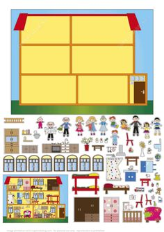 Interior Design of House Paper Collage from Paper Collage category Hundreds of free printable papercraft templates of origami cut out paper dolls stickers collages notes handmade gift boxes with do-it-yourself instructions Paper Doll House, Paper Houses, Paper Dolls, Fabric Dolls, Art For Kids, Crafts For Kids, House Template, Toddler Learning Activities, Clipart