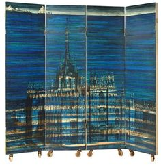 Piero Fornasetti's Duomo Sommerso (submerged Duomo) folding screen, by Fornasetti Milano, Printed, lacquered, and painted by hand.