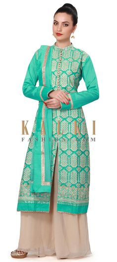 Buy Online from the link below. We ship worldwide (Free Shipping over US$100). Product SKU - 317471. Product Price - $169.00. Product Link - http://www.kalkifashion.com/turq-straight-suit-adorn-in-resham-embroidery-only-on-kalki.html