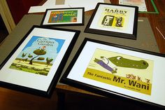 Framing pages from children's books. Very cute. Great idea to decorate the kids playroom. Why didn't I think of this?
