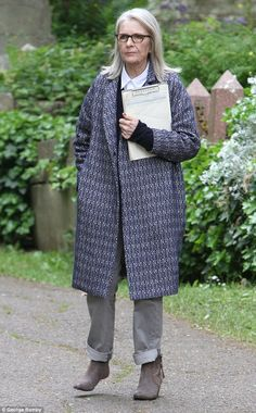 In character: Diane Keaton, 70, shot new scenes for her latest film, Hampstead in north London on Thursday