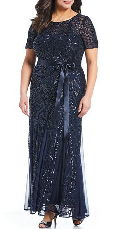 Plus Wedding Guest Dress Awesome R & M Richards Plus Size Embroidered Sequin Panel Belted Gown Mother Of The Bride Plus Size, Mother Of The Bride Dresses Long, Mother Of Bride Outfits, Mothers Dresses, Navy Dress For Wedding, Long Mothers Dress, Cocktail Dresses With Sleeves, Formal Dresses With Sleeves, Mob Dresses