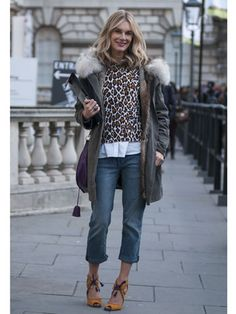 We love this feminine animal print especially when worn with these baggier boyfriend jeans.    Read more: Street Style at Fall 2013 London Fashion Week - LFW Street Style Pictures - Marie Claire