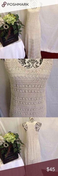 LC Lauren Conrad Crochet/Macramé Maxi Dress Cream crochet/macramé overlay. Lined. LC Lauren Conrad. Racerback. No flaws. Free gift. Size large LC Lauren Conrad Dresses Maxi