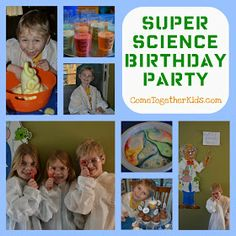 A Super Science Birthday Party! With ooey gooey ingredients and explosive experiments, this party will not only be extremely wacky and fun but educational and illuminating! Check it out at Come Together Kids: Super Science Birthday Party! Mad Science Party, Mad Scientist Party, Science For Kids, Science Activities, Science Experiments, Science Fun, Science Projects, Science Ideas, Family Activities