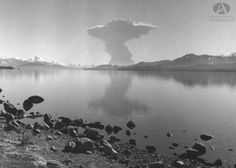 Erupción Volcan  Puyehue, 22.5.1960 (Col Lagos en Archivo Visual Patagónico)